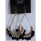 Sophisticated Black & White Bunch Beade Evening Wear Wedding Earrings