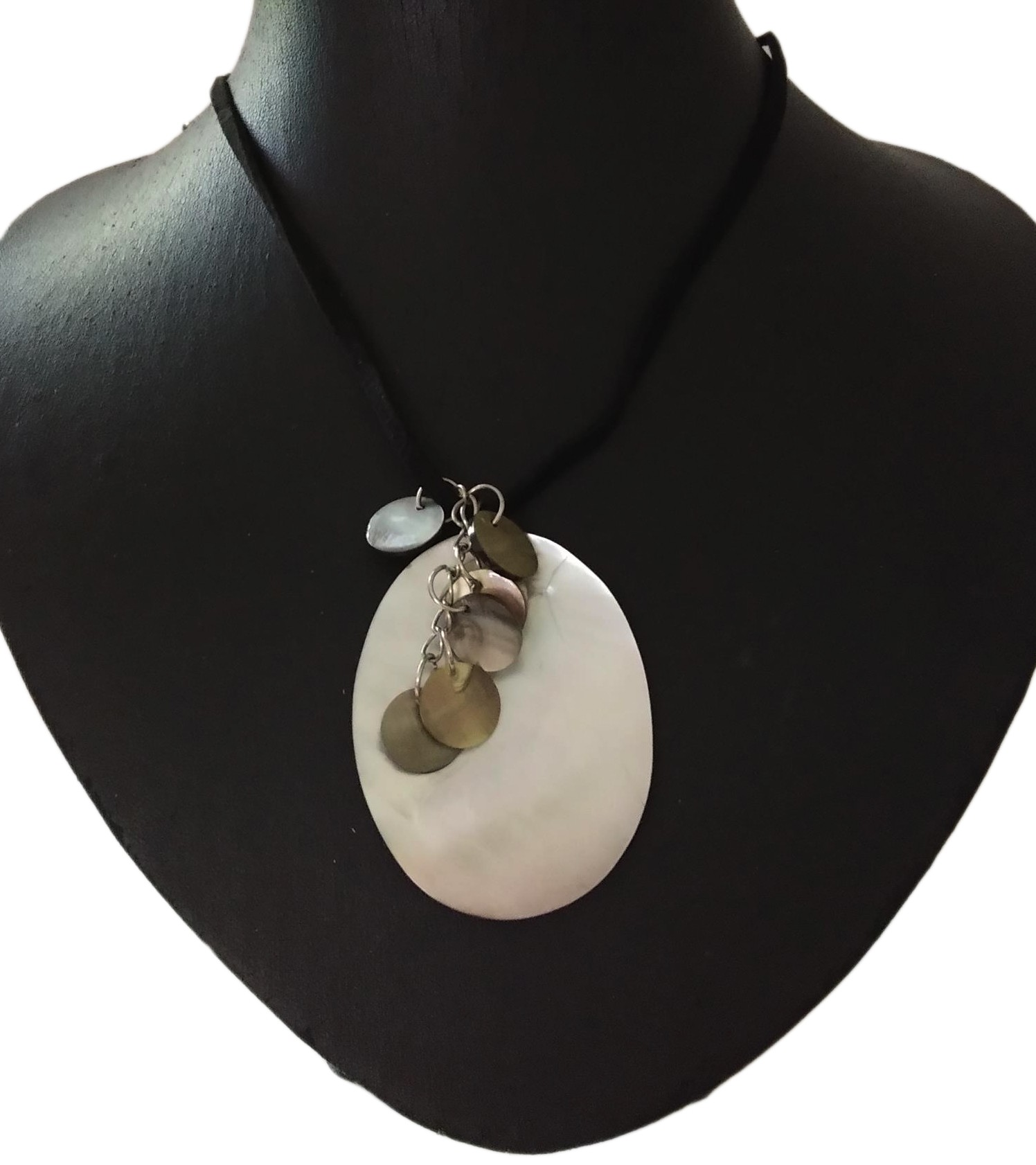 Silver Coins On A Shell Choker