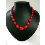 Red Enamel Beaded Necklace