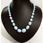 Multisize Light Blue Beads Necklace