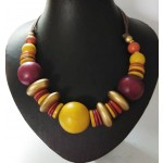 African Sun Slute Wooden necklace