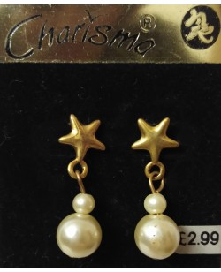 Star Pearl Ball Earings