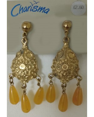 Typical Yellow Glass Drop Earrings