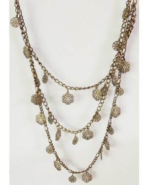 Golden Flower Multistrand Chained Necklace