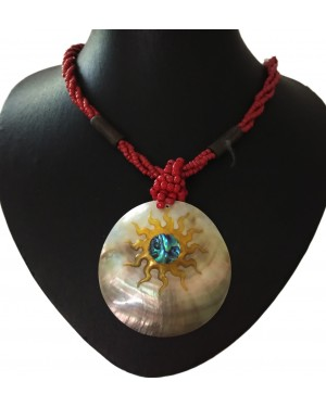 Sun On A Shell Beaded Necklace
