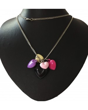Multi Colored Heart Bunch Pendent Chained Necklace