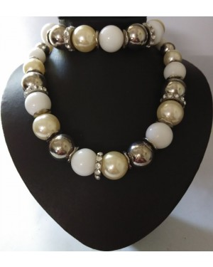 Tahitian Pearls And Silver Beads Necklace With Bracelet Set