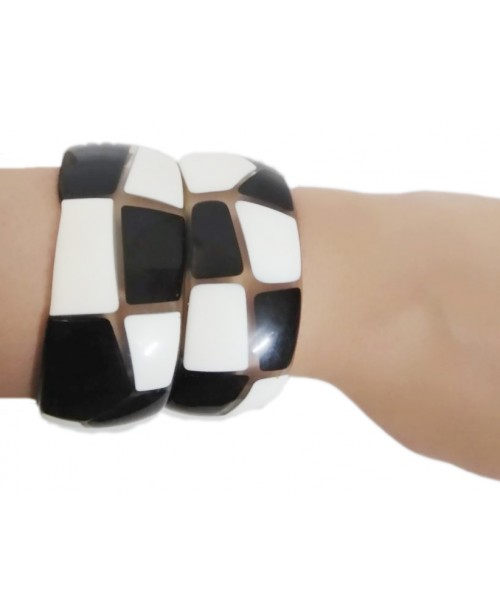 Black & White Glass Brick Pattern Bangle Pair