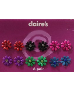 Multi Color Flowers 6 Pair Earrings